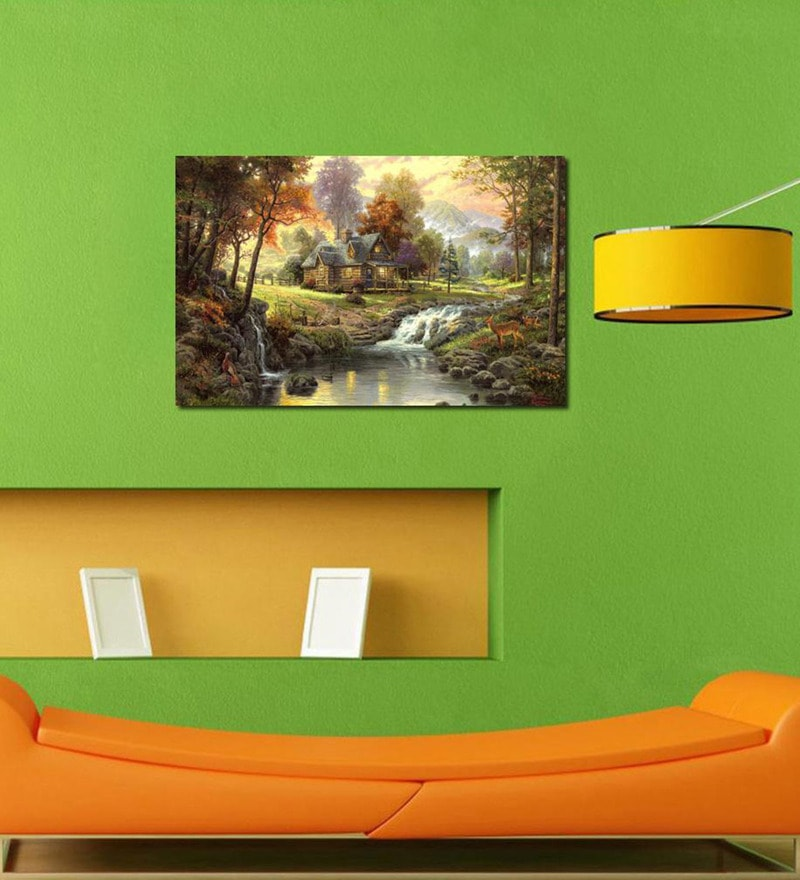 Forest River  Cotton Canvas 35 x 24 Inch Wooden Framed Digital Art Print by 999Store