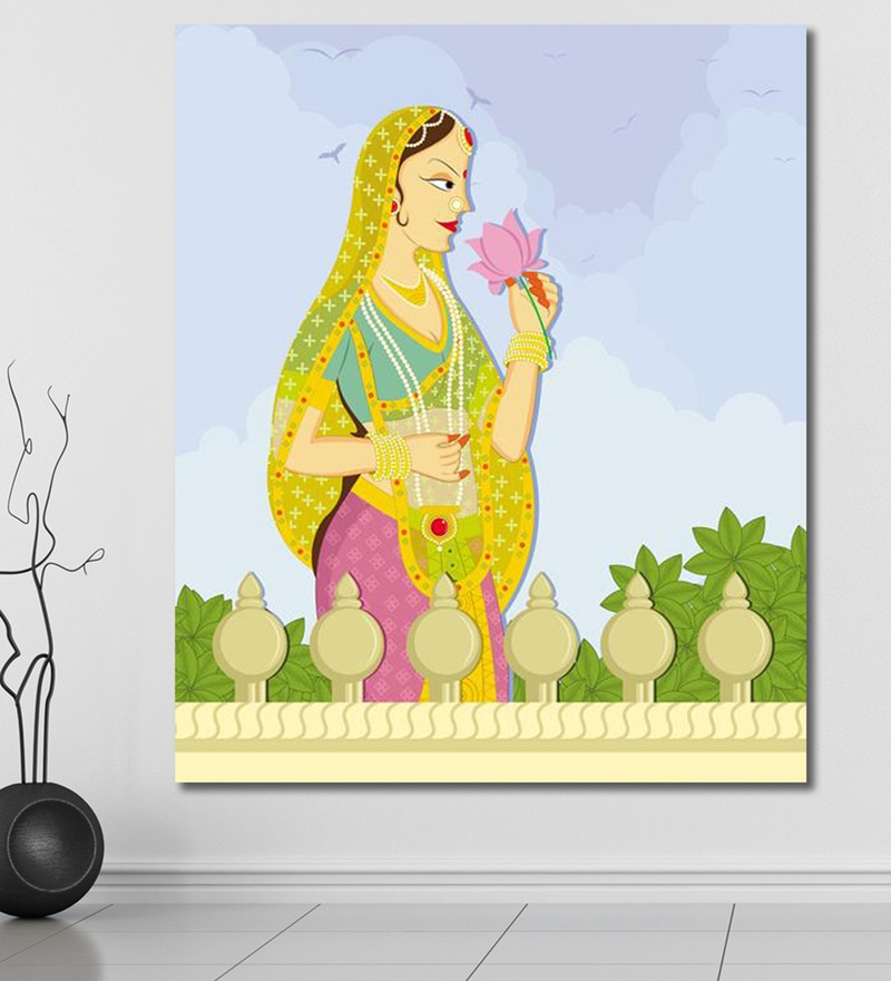 Vinyl 60 x 0.4 x 72 Inch Queen Smelling Lotus from Pond in Indian Painting Unframed Digital Art Print by 999Store