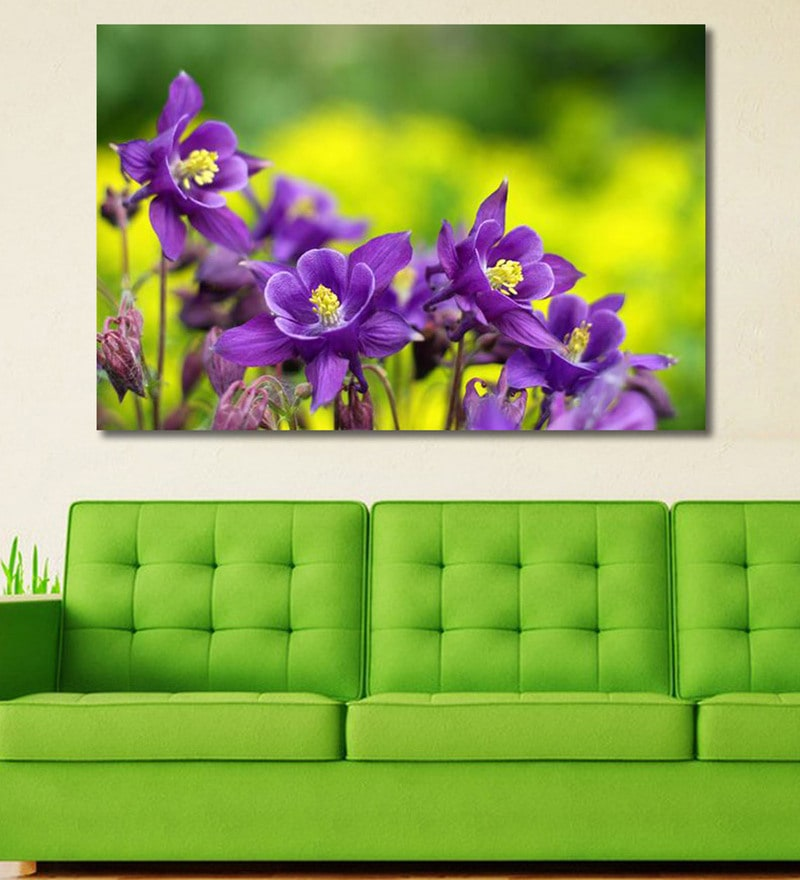 Vinyl 72 x 0.4 x 48 Inch Purple Flowers in Wild Nature Painting Unframed Digital Art Print by 999Store