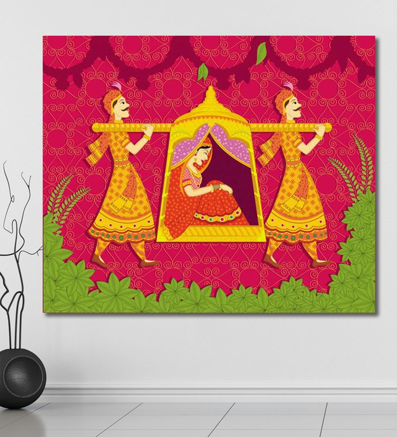 Vinyl 72 x 0.4 x 60 Inch Lady in Palanquin in Indian Painting Unframed Digital Art Print by 999Store