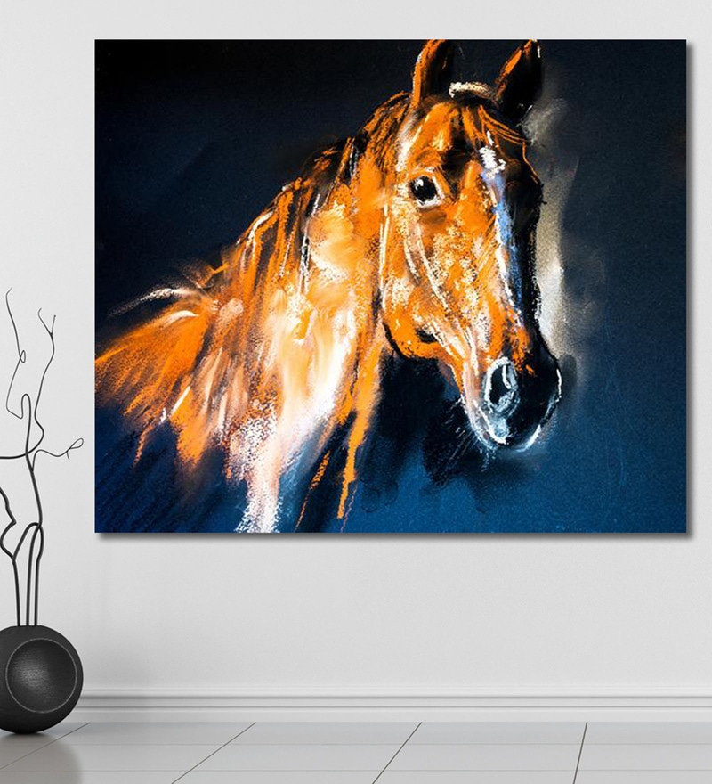 Vinyl 72 x 0.4 x 60 Inch of A Brown Horse Painting Unframed Digital Art Print by 999Store