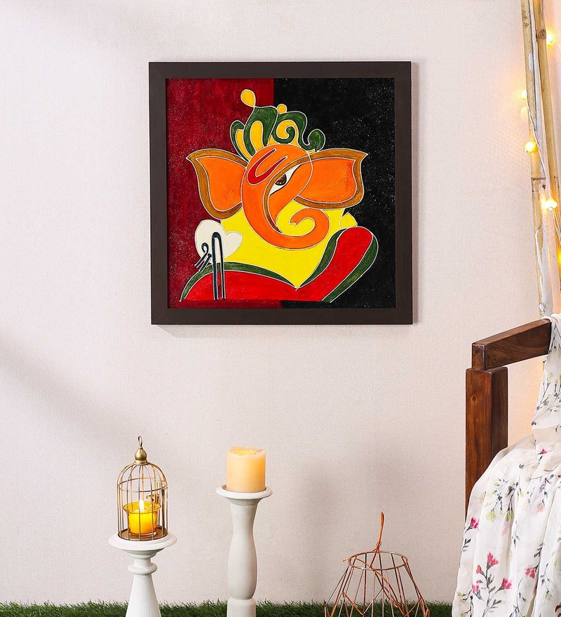 Wood 20 x 0.8 x 20 Inch Handmade Shri Ganesh Textured Wall Art Painting by 999Store