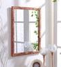 999Store Brown Wooden Handmade Decorative Flower Design  Mirror