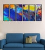 Fibre 70 x 0.8 x 30 Inch Abstract Framed Art Panels - Set of 6 by 999Store