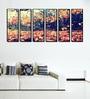 999Store Fibre 70 x 0.8 x 30 Inch Autumn Yellow Leaves Framed Art Panels - Set of 6