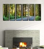 Fibre 70 x 0.8 x 30 Inch Forest Roads Framed Art Panels - Set of 6 by 999Store