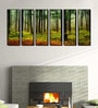 Fibre 70 x 0.8 x 30 Inch Forest Trees Framed Art Panels - Set of 6 by 999Store