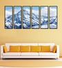 Fibre 70 x 0.8 x 30 Inch Snow Covered Mountain Top Framed Art Panels - Set of 6 by 999Store