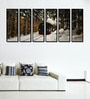 Fibre 70 x 0.8 x 30 Inch Train in The Icy Forest Framed Art Panels - Set of 6 by 999Store