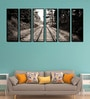 Fibre 70 x 0.8 x 30 Inch Train Track Forest Framed Art Panels - Set of 6 by 999Store