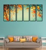 Fibre 70 x 0.8 x 30 Inch Yellow Leaves Framed Art Panels - Set of 6 by 999Store