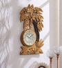 Gold Wooden 13 x 0.4 x 22 Inch Royal Hand Made Antique Decorative Designer Clock by 999Store