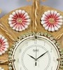 999Store Gold Wooden 21 Inch Round Royal Hand Crafted Antique Flower Clock