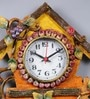 Multicolour Wooden 6.8 x 0.5 x 20 Inch Royal Hand Crafted Antique Grapes Tree Clock by 999Store