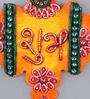 Multicolour Wooden Handmade Diwali Flower Orange Shubh Labh Door Hanging - Set of 2 by 999Store