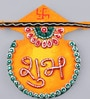 999Store Multicolour Wooden Handmade Diwali Orange Shubh Labh Door Hanging - Set of 2