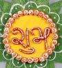 999Store Multicolour Wooden Handmade Diwali Star Green Shubh Labh Door Hanging - Set of 2