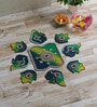 999Store Multicolour Wooden Handmade Rangoli - Set of 9