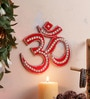 999Store Multicolour Wooden Handmade Red Om Spiritual Wall Hanging