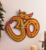 999Store Multicolour Wooden Om Hand Crafted Hand Painted Door Hanging