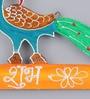 999Store Multicolour Wooden Peacock Diwali Shubh Labh Door Hanging