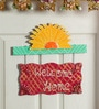 999Store Multicolour Wooden Welcome Home Name Plate Door Hanging Rajasthani Handicraft