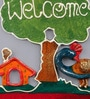 999Store Multicolour Wooden Welcome Tree Plate Door Hanging Handicraft