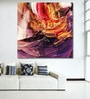 Cotton Canvas 48 x 0.4 x 48 Inch Beautiful Purple Red & Yellow Abstract Painting Unframed Digital Art Print by 999Store