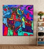 Cotton Canvas 48 x 0.4 x 48 Inch Colourful Abstract Beautiful Collage Painting Unframed Digital Art Print by 999Store