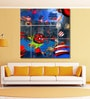 Vinyl 48 x 0.4 x 48 Inch Colourful Abstract Collage Painting Unframed Digital Art Print by 999Store