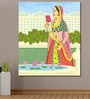 Cotton Canvas 60 x 0.4 x 72 Inch Queen Picking Lotus from Pond in Indian Painting Unframed Digital Art Print by 999Store