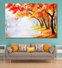 Cotton Canvas 72 x 0.4 x 48 Inch Autumn Forest Near The Lake Orange Leaves Painting Unframed Digital Art Print by 999Store