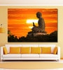 Cotton Canvas 72 x 0.4 x 48 Inch Buddha Statue Over Scenic Sunset Sky Painting Unframed Digital Art Print by 999Store