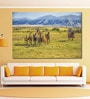 Cotton Canvas 72 x 0.4 x 48 Inch Cowboys Rounding Up Wild Horses Painting Unframed Digital Art Print by 999Store