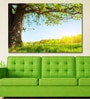 Vinyl 72 x 0.4 x 48 Inch Spring Meadow with Big Tree with Fresh Green Leaves Painting Unframed Digital Art Print by 999Store