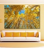 Cotton Canvas 72 x 0.4 x 48 Inch Upward View of Fall Aspen Trees Painting Unframed Digital Art Print by 999Store