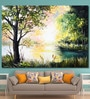 999Store Vinyl 84 x 0.4 x 60 Inch River Waterfall Dense Forest Painting Unframed Digital Art Print