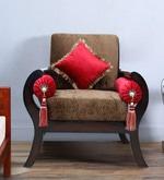 Aarana One Seater Sofa with Cushions in Walnut Finish