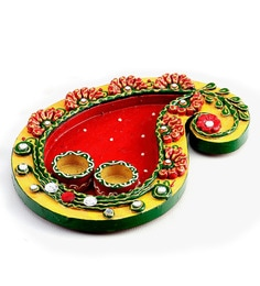 Aapno Rajasthan Red & Gold Wood & Clay Pooja Thali With 2 Bowls