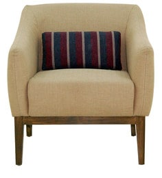 Aaron Arm Chair In Beige Colour