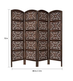 ... Espadas Solid Wood 4 Panel Free Standing Room Divider In Brown Finish