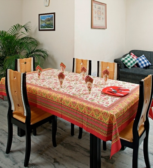 a050a079447 Aapno Rajasthan Beautiful Light Orange Hand Block Print Table Cover ...
