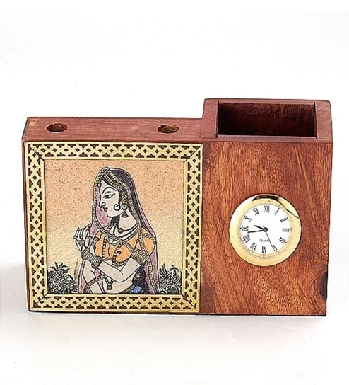 Aapno Rajasthan Real Gem Stone Pen Holder With Watch By Aapno