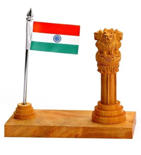 Aapno Rajasthan Multicolour Wood 1 Flag & National Emblem Stand Showpiece