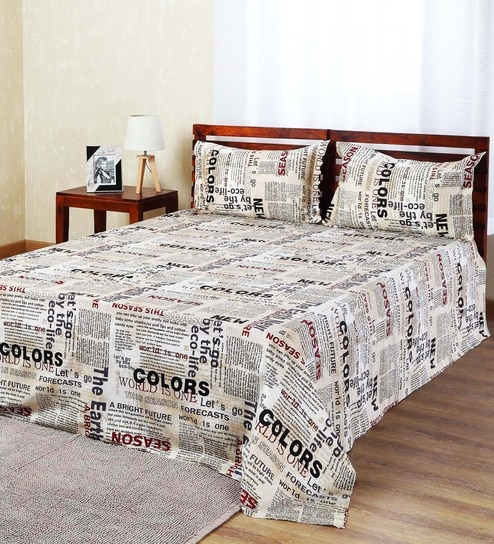 Aapno Rajasthan White Cotton Newspaper Double Bed Sheet Set