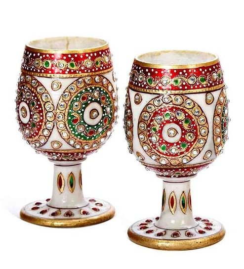 Buy Aapno Rajasthan White Marble Floral Hand Painted Wine Glass