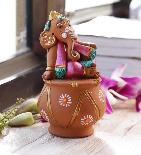 Aapno Rajasthan Multicolour Terracotta Sweet Little Ganesh Sitting on Matki