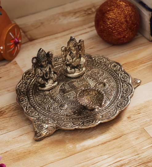 5c2dcceed Buy Aapno Rajasthan Oxidized Silver Metal Antique Finish Pooja Thali Online  - Festive Diyas - Festive Decor - Decor - Pepperfry Product