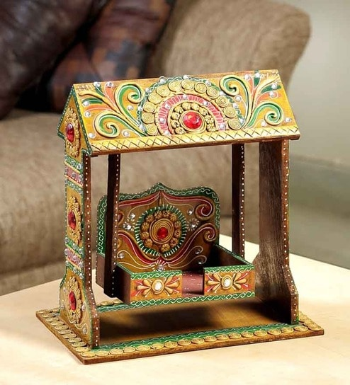Aapno Rajasthan Pooja Jhula Crafted From Wood With Clay Work By
