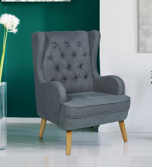 Aarmo Wing Chair In Grey Colour By